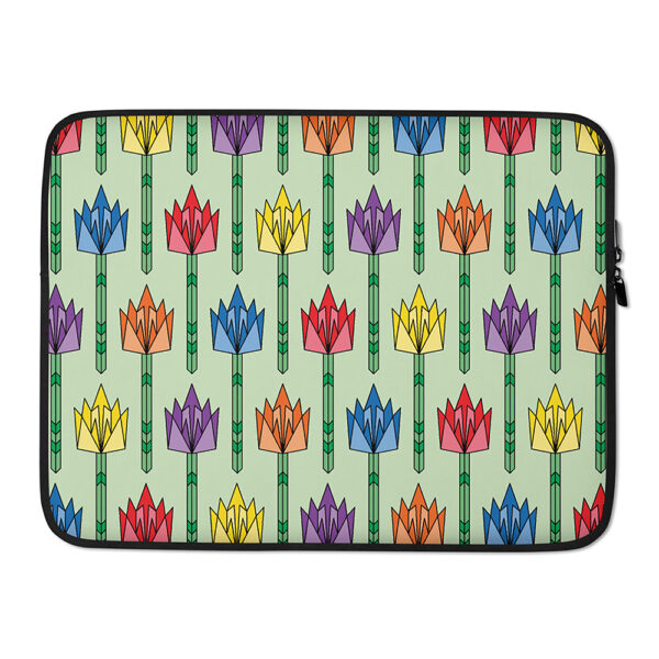 15 inch laptop sleeve with a pattern of tulip flowers in a mid-century design with rainbow colors