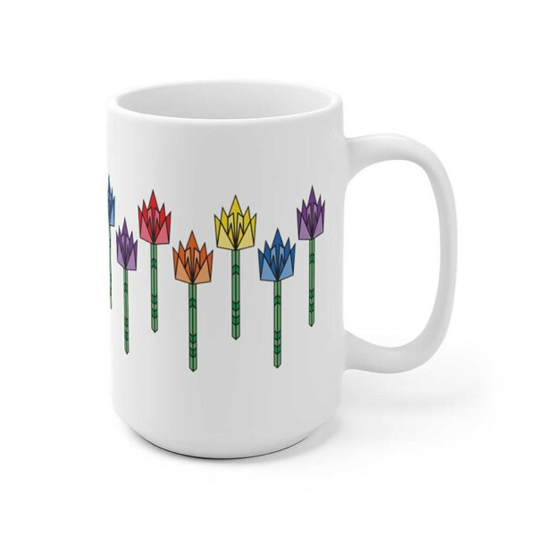15 ounce white ceramic coffee mug with tulip flowers in rainbow colors around the sides