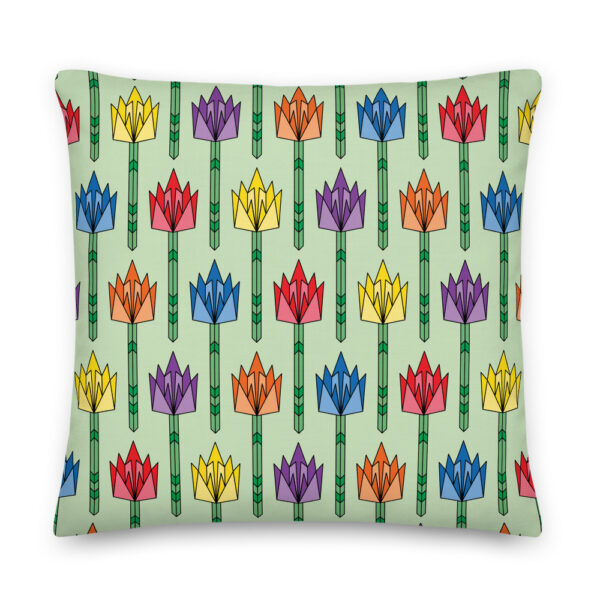 22 inch square pillow with a pattern of tulip flowers in rainbow colors and a mid-century style