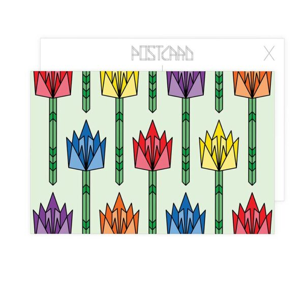 postcard with a design of tulips in rainbow colors