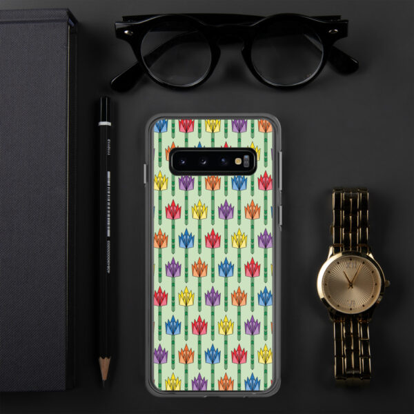 samsung phone case with a pattern of tulips in a midcentury style with rainbow colors sitting next to a watch