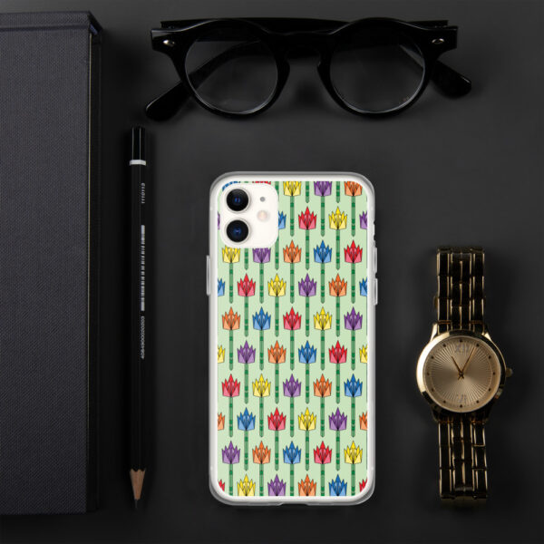 iphone case with a pattern of tulips in a midcentury style with rainbow colors sitting next to a watch