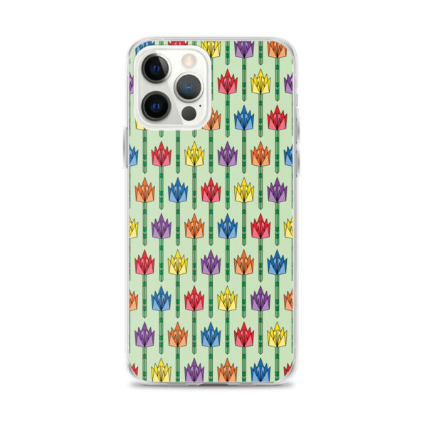 iphone 12 pro max case with a pattern of tulips in a midcentury style with rainbow colors