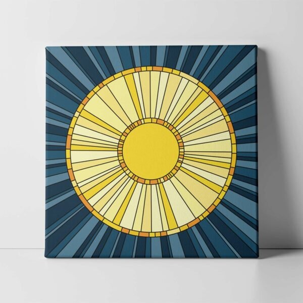square stretched canvas print with a design of a yellow sun on a blue background