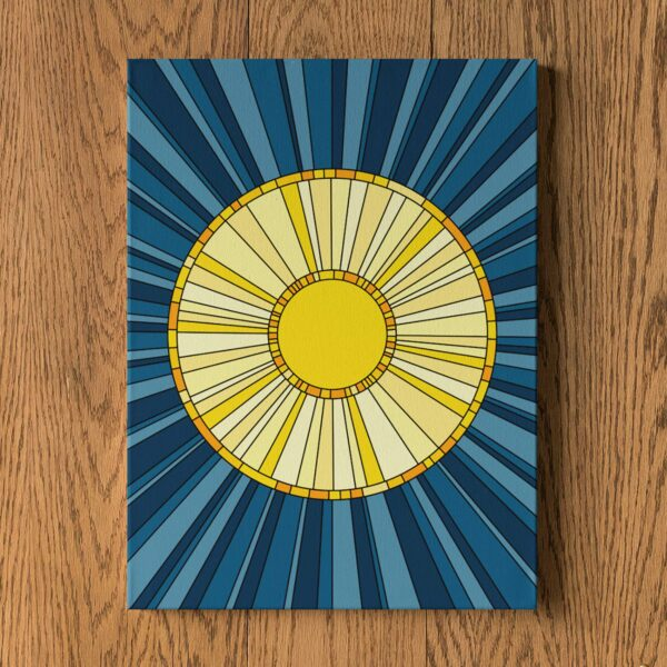 vertical stretched canvas print with a design of a yellow sun on a blue background hanging on a wall