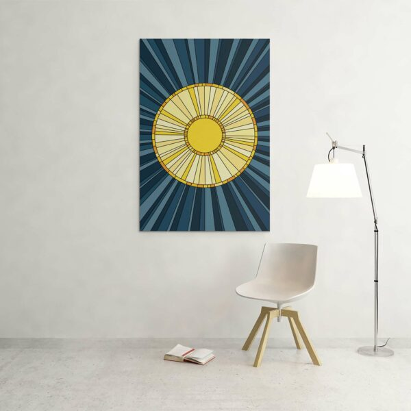 large vertical stretched canvas print with a design of a yellow sun on a blue background hanging on a wall