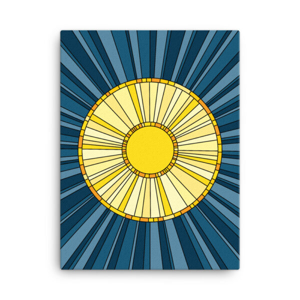 18 inch by 24 inch vertical stretched canvas print with a design of a yellow sun on a blue background