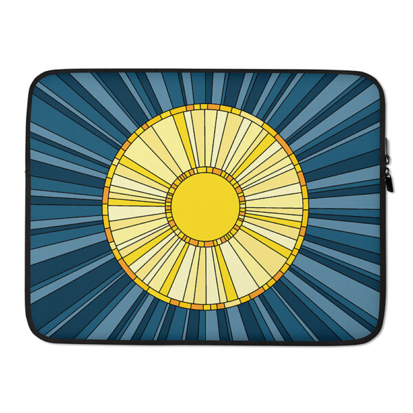 15 inch laptop sleeve with a big yellow sun on a blue background