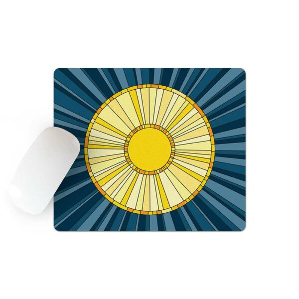 mouse pad with a yellow sun on a blue background