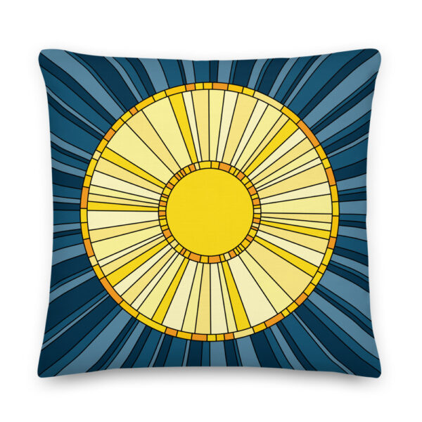 22 inch square pillow with a yellow sun design on a blue background