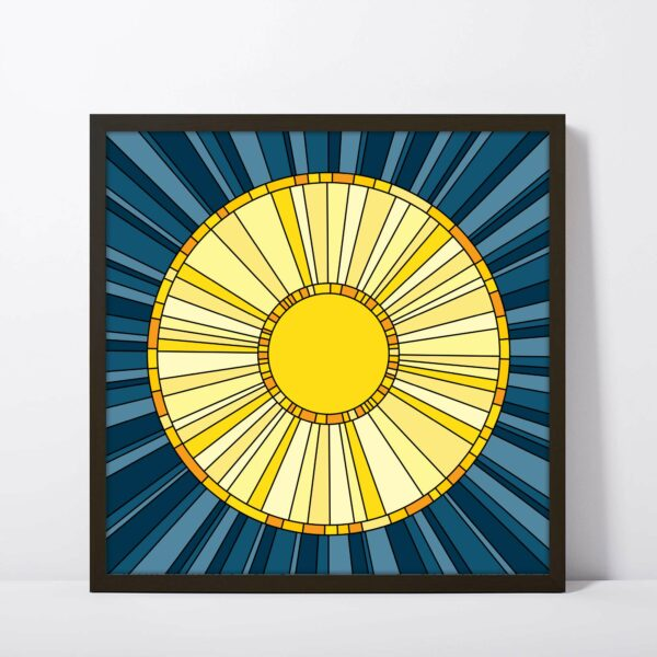 square fine art print with a yellow sun design on a blue background in a black frame