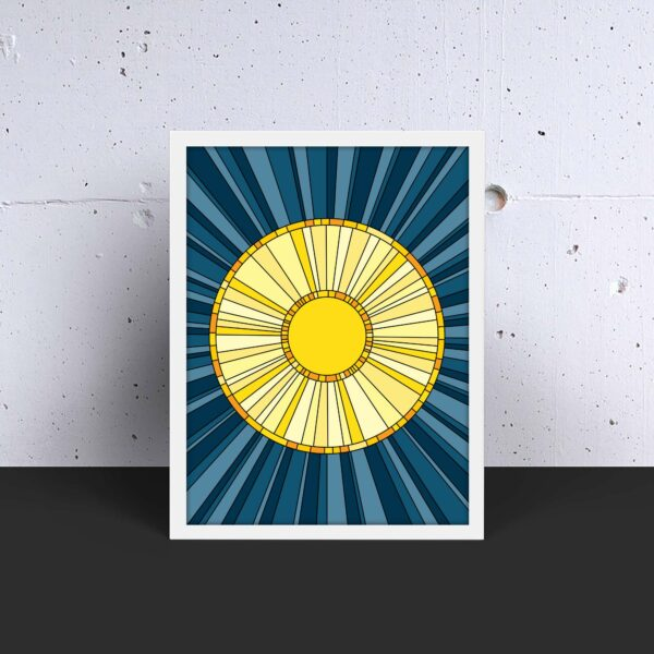 vertical fine art print with a yellow sun design on a blue background in a white frame