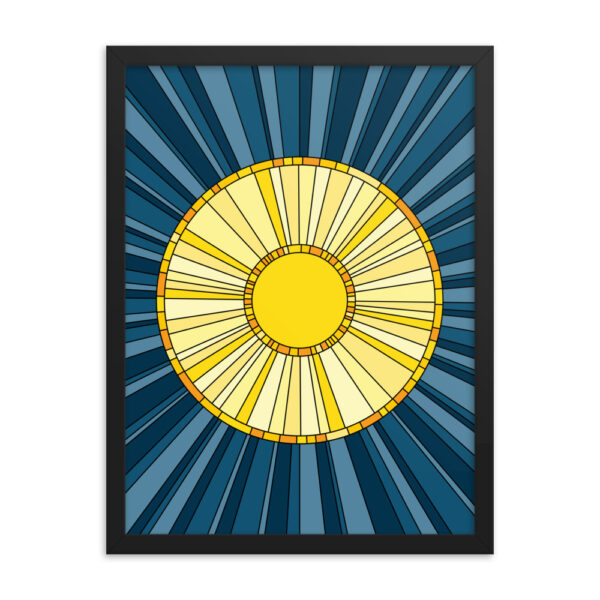 18 inch by 24 inch vertical fine art print with a yellow sun design on a blue background in a black frame