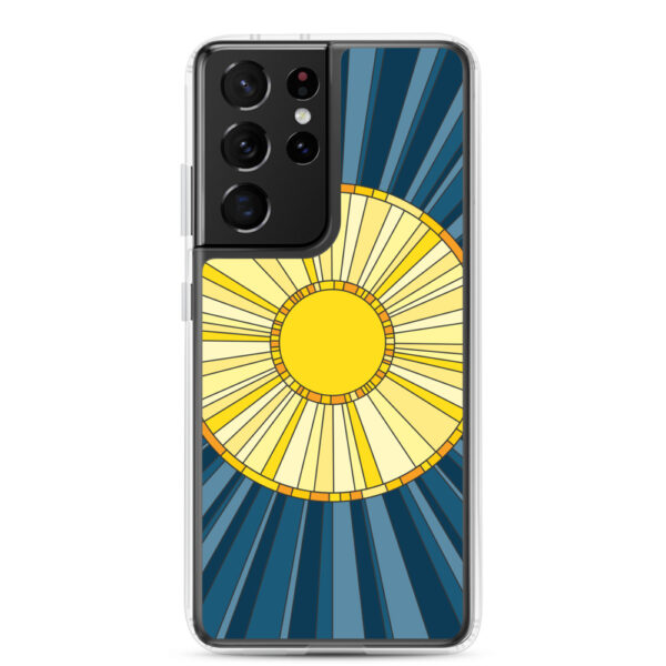 samsung galaxy s21 ultra phone case with a geometric design of a yellow sun on a blue background