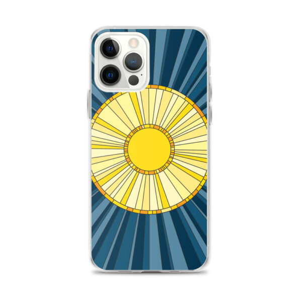 iphone 12 pro max case with a geometric design of a yellow sun on a blue background
