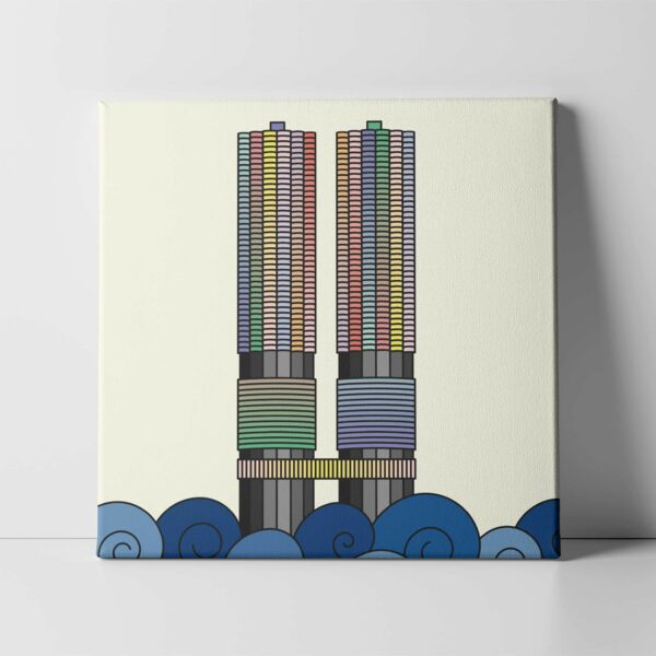 square stretched canvas print with a colorful illustration of the two marina city towers in chicago