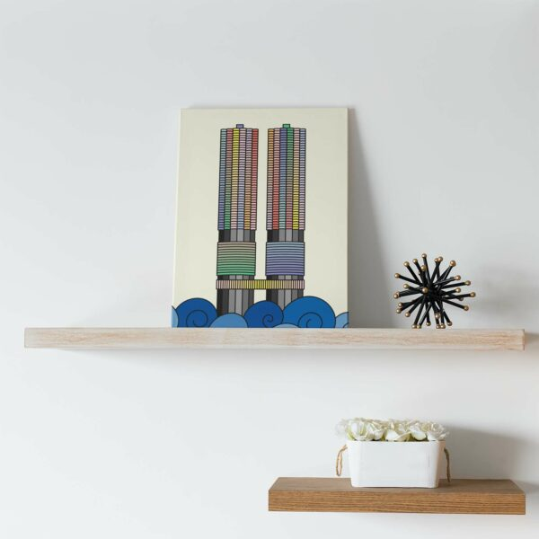 vertical stretched canvas print with a colorful illustration of the two marina city towers in chicago sitting on a shelf
