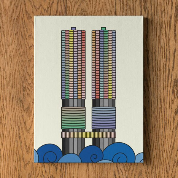 vertical stretched canvas print with a colorful illustration of the two marina city towers in chicago hanging on a wall