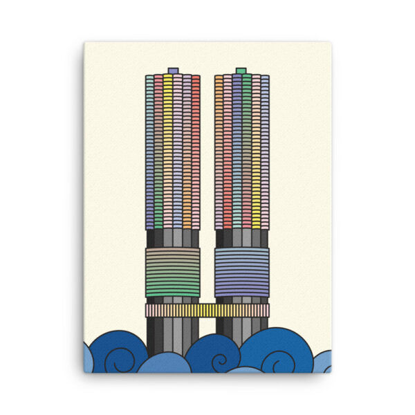 18 inch by 24 inch vertical stretched canvas print with a colorful illustration of the two marina city towers in chicago