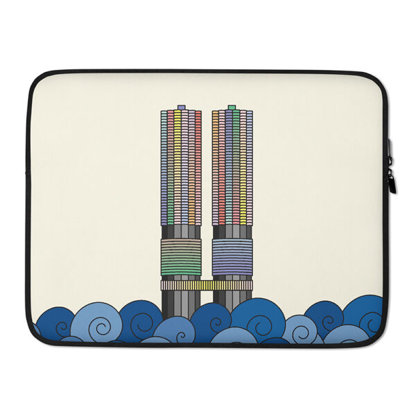 15 inch laptop sleeve with a colorful illustration of the two marina city towers in chicago