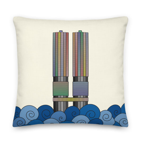 22 inch square pillow with a colorful illustration of the two marina city towers in chicago with a yellow background