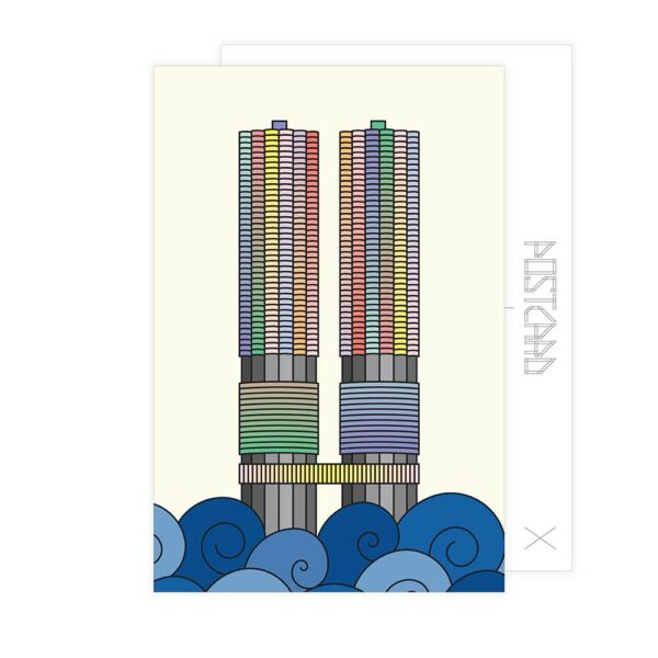 postcard with a colorful illustration of the two marina city towers in chicago