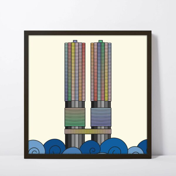square fine art print with a colorful illustration of the two Marina City towers in Chicago in a black frame