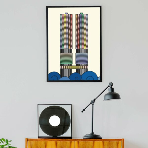 vertical fine art print with a colorful illustration of the two Marina City towers in Chicago in a black frame hanging on a wall