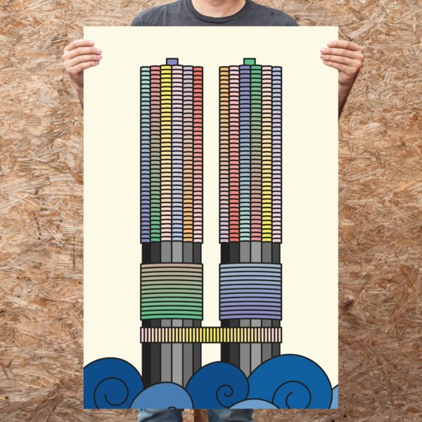 person holding a large vertical fine art print with a colorful illustration of the two Marina City towers in Chicago