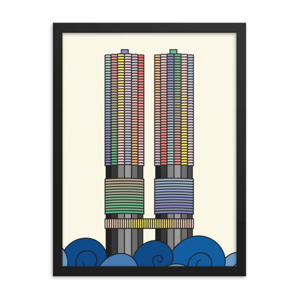 18 inch by 24 inch vertical fine art print with a colorful illustration of the two Marina City towers in Chicago in a black frame