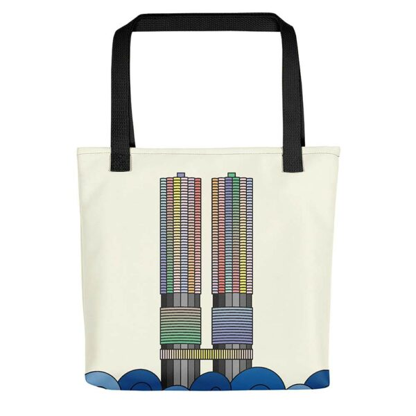 yellow tote bag with black handles and a colorful illustration of the two marina city towers in chicago