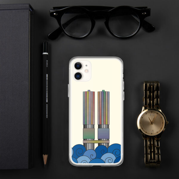 iphone case with a colorful illustration of the marina city buildings in chicago with waves at the bottom sitting next to a watch
