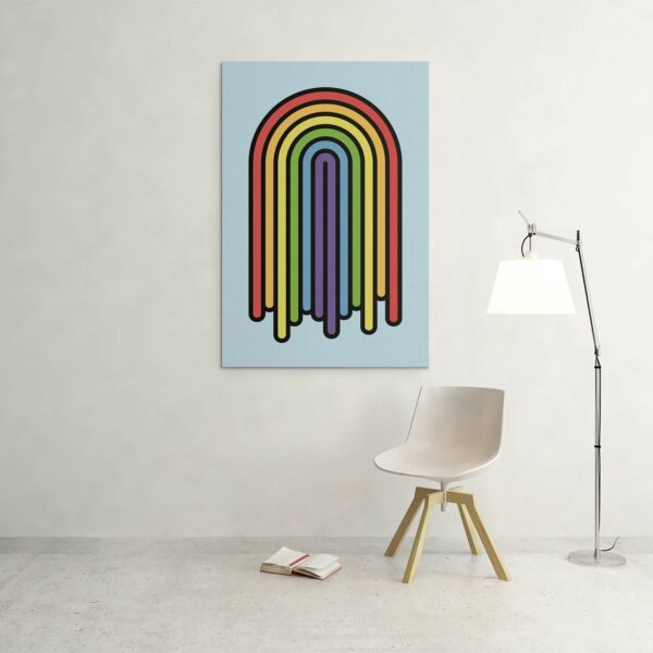 large vertical stretched canvas print with a colorful dripping rainbow design hanging on a wall