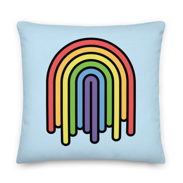 22 inch square pillow with a colorful dripping rainbow design on a light blue background