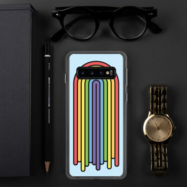 samsung phone case with a colorful dripping rainbow design on a light blue background sitting next to a watch