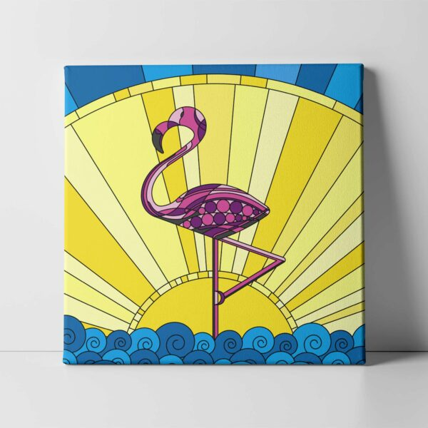 square stretched canvas print with a colorful scene of a pink flamingo standing in water with a yellow sun in the background