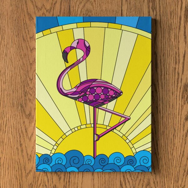 vertical stretched canvas print with a colorful scene of a pink flamingo standing in water with a yellow sun in the background hanging on a wall