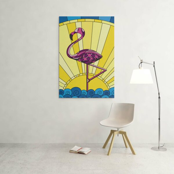 large vertical stretched canvas print with a colorful scene of a pink flamingo standing in water with a yellow sun in the background hanging on a wall
