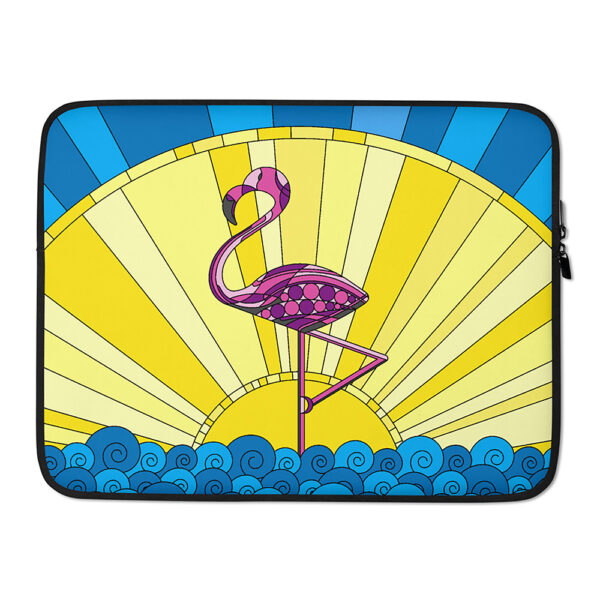 15 inch laptop sleeve with a tropical design of a pink flamingo standing in water in front of a sun