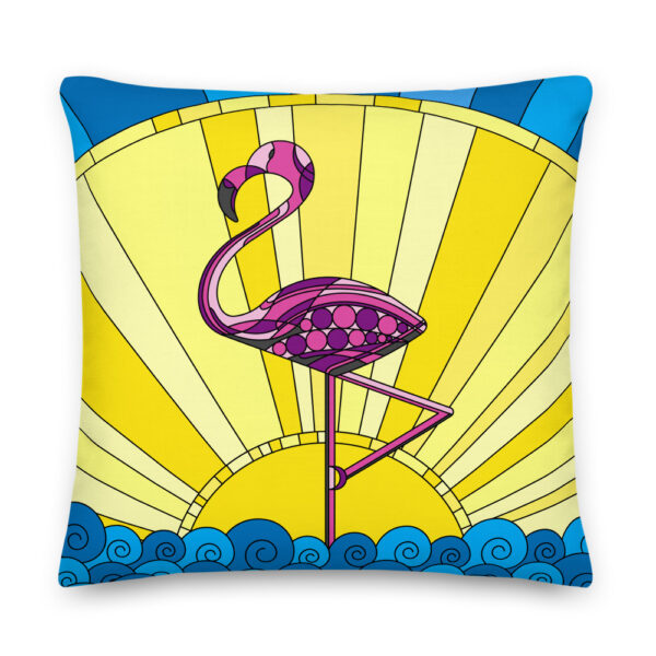 22 inch square pillow with a pink flamingo standing in waves in front of a yellow sun design