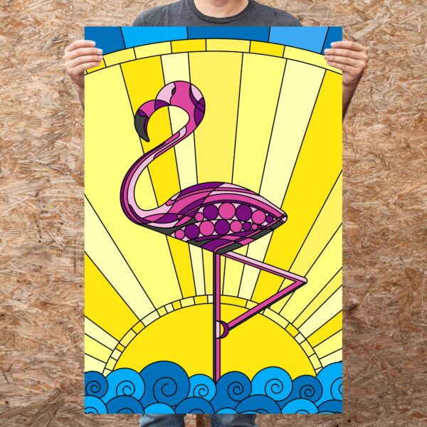 person holding a large vertical fine art print with a tropical pink flamingo design