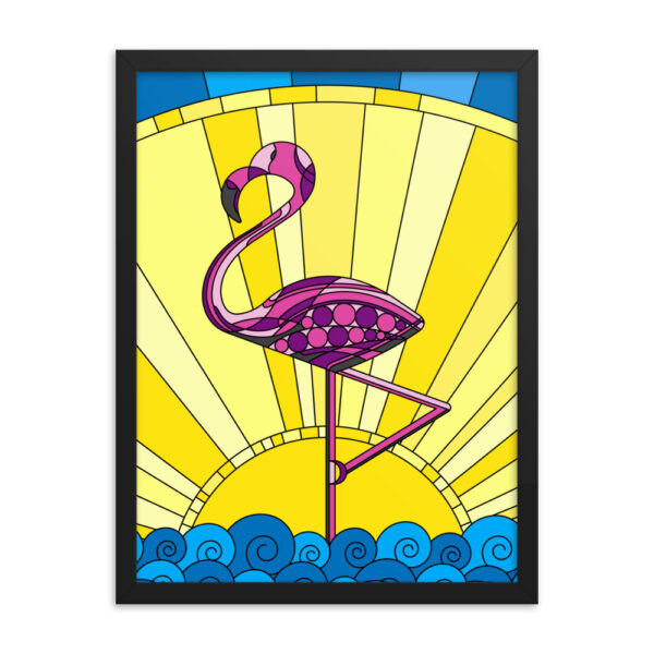 18 inch by 24 inch vertical fine art print with a tropical pink flamingo design in a black frame