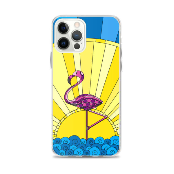 iphone 12 pro max case with a tropical design of a pink flamingo standing in water with a sun in the background