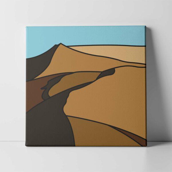 square stretched canvas print with a minimalist desert landscape design