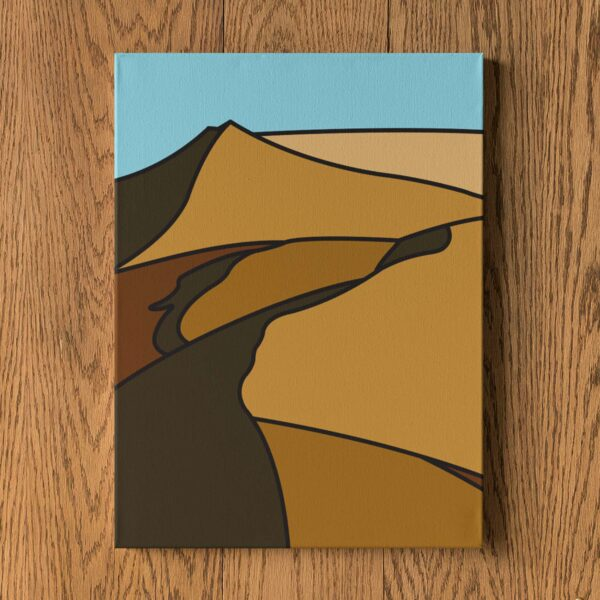 vertical stretched canvas print with a minimalist desert landscape design hanging on a wall