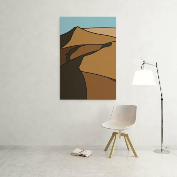 large vertical stretched canvas print with a minimalist desert landscape design hanging on a wall