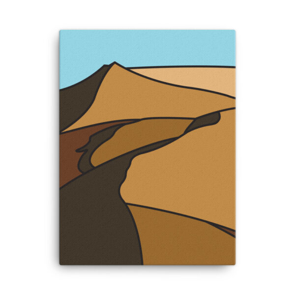18 inch by 24 inch vertical stretched canvas print with a minimalist desert landscape design