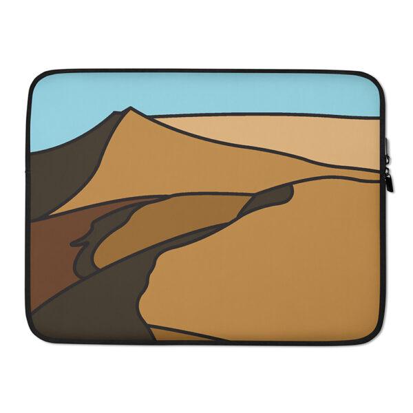 15 inch laptop sleeve with a minimalist desert landscape design