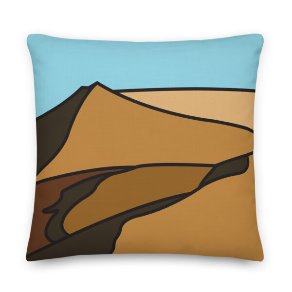 22 inch square pillow with a minimalist desert sand dune landscape design