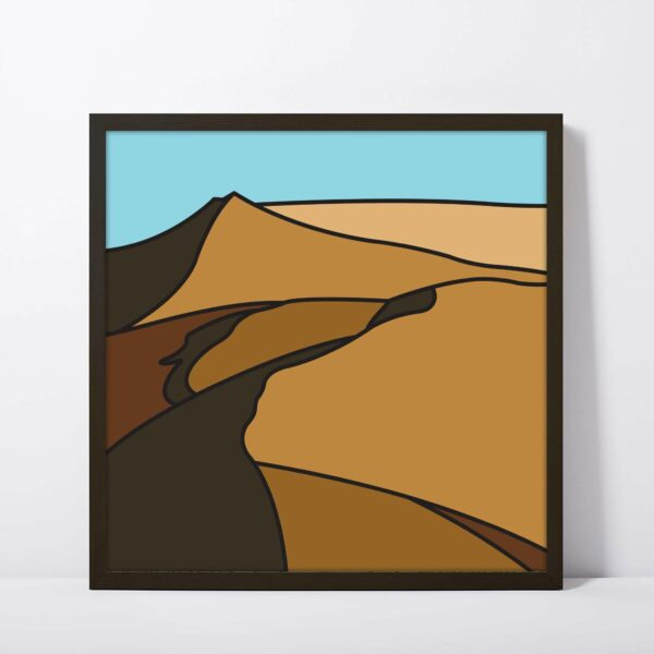 square fine art print with a minimalist sand dune design in a black frame